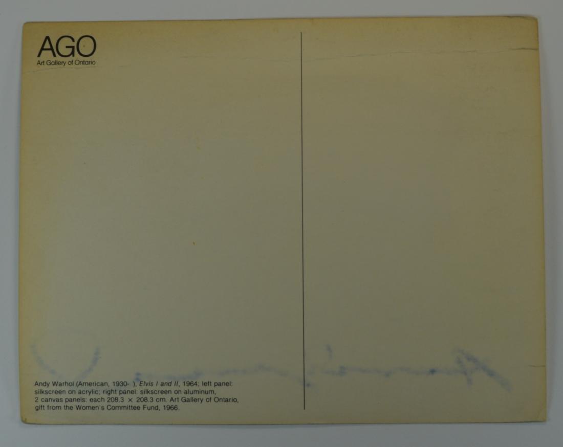 ANDY WARHOL SIGNED ELVIS PRESLEY POSTCARD CA. 1970'S - 2