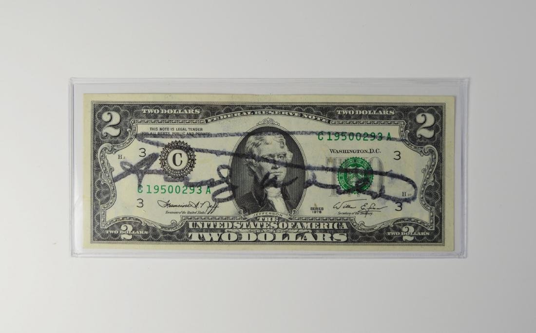 ANDY WARHOL 2 DOLLAR US CURRENCY BILL SIGNED 1976