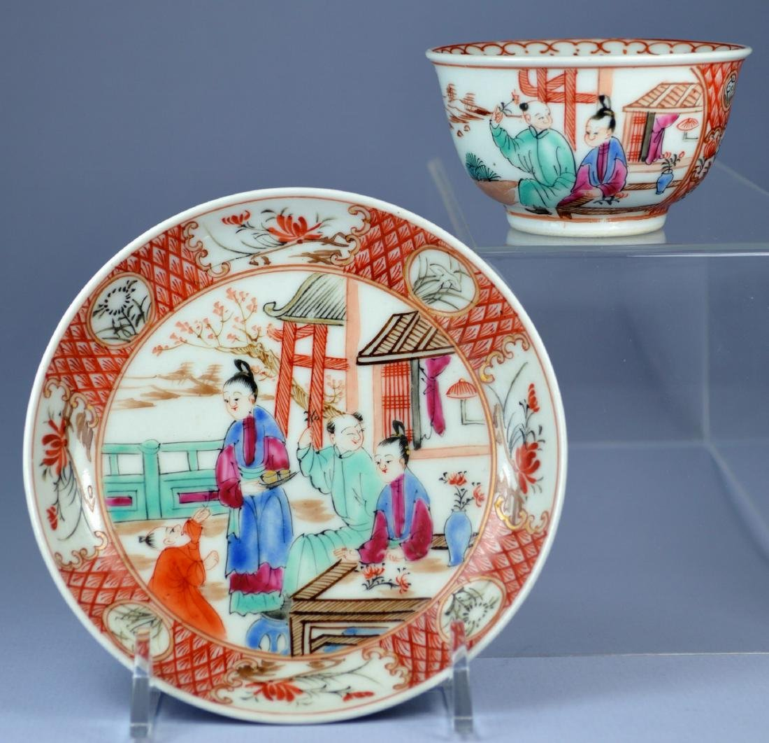 A VERY FINE CHINESE MANDARIN SAUCER AND CUP 18TH C - 2