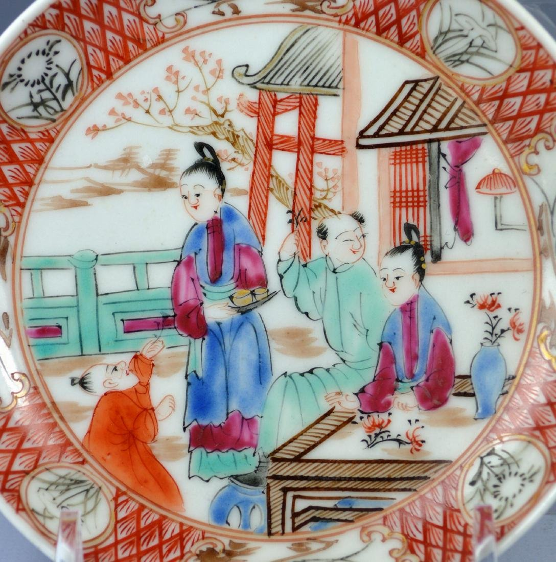 A VERY FINE CHINESE MANDARIN SAUCER AND CUP 18TH C - 4