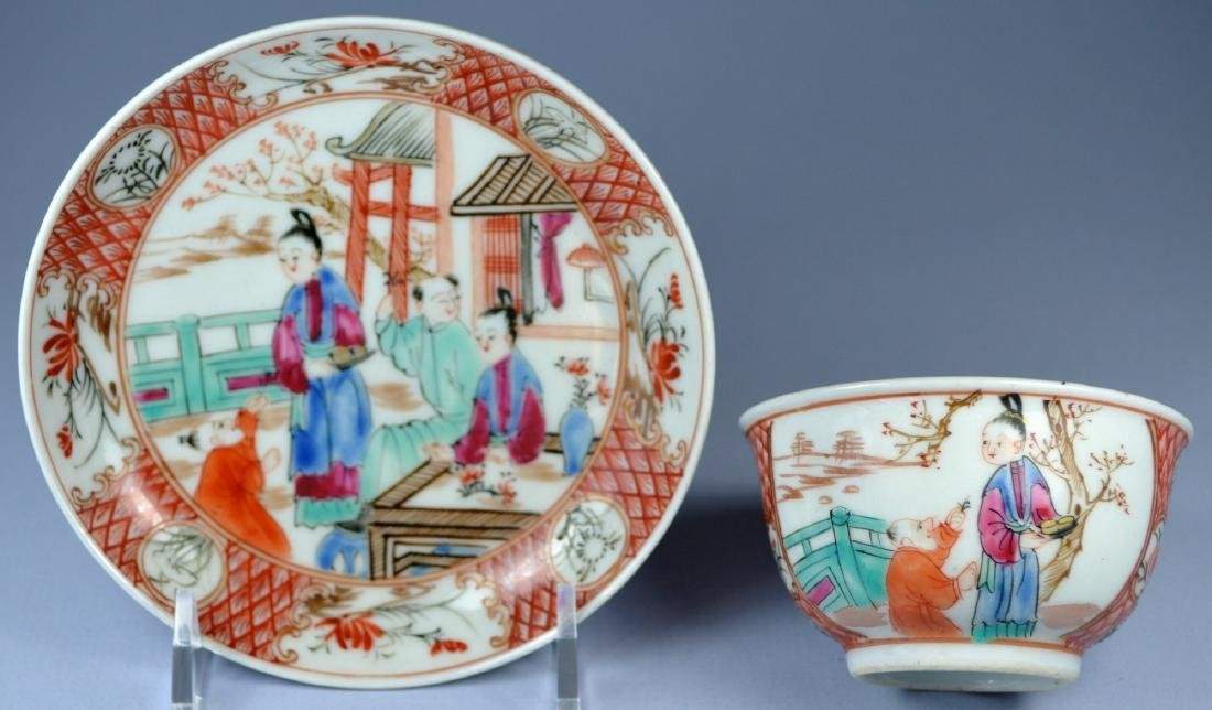A VERY FINE CHINESE MANDARIN SAUCER AND CUP 18TH C - 5