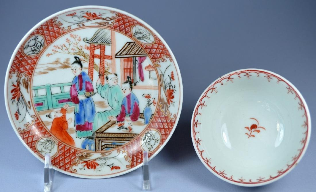 A VERY FINE CHINESE MANDARIN SAUCER AND CUP 18TH C - 6