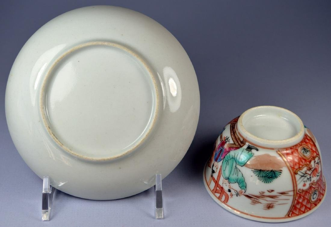 A VERY FINE CHINESE MANDARIN SAUCER AND CUP 18TH C - 7
