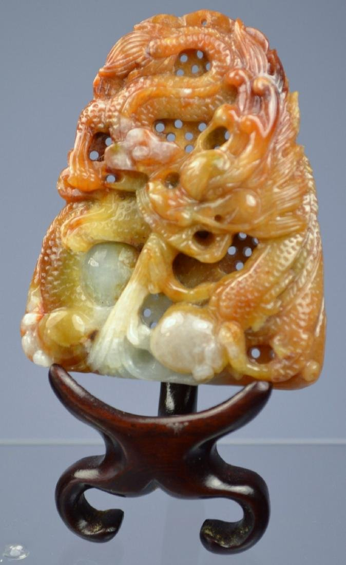 CHINESE SUPERB HE-TIAN JADE CARVED DRAGON AMULET