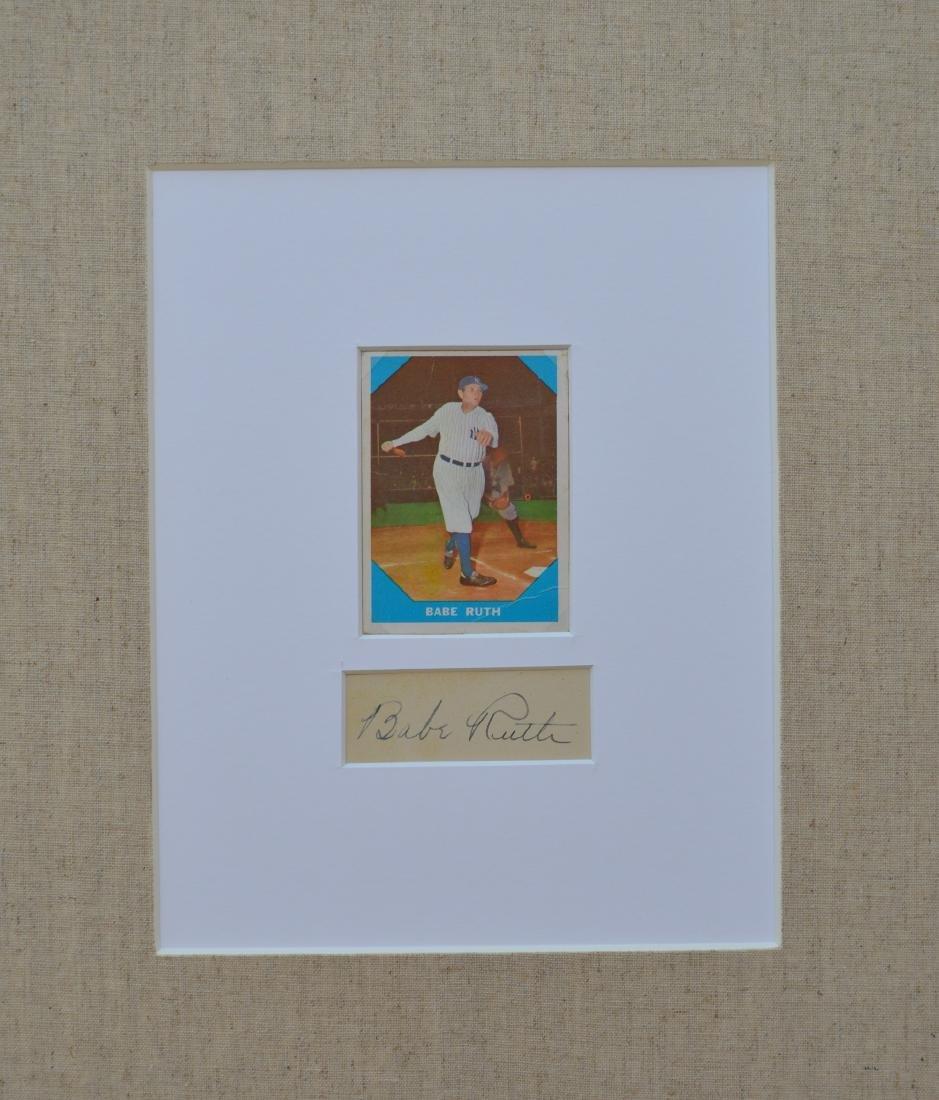 BABE RUTH 1960 BASEBALL CARD AND CUTOUT SIGNATURE IN - 3