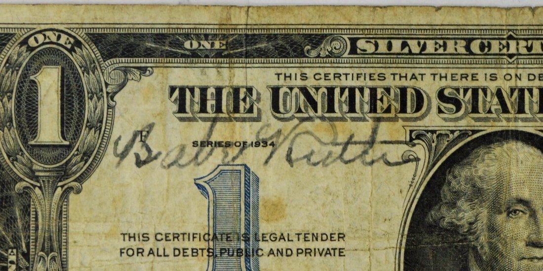 1 DOLLAR BILL SIGNED BABE RUTH CA. 1934 - 2