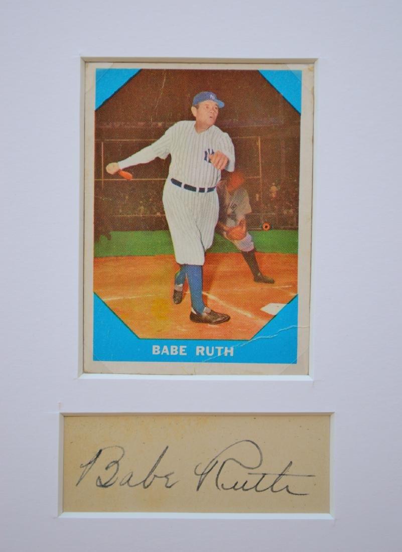 BABE RUTH 1960 BASEBALL CARD AND CUTOUT SIGNATURE IN