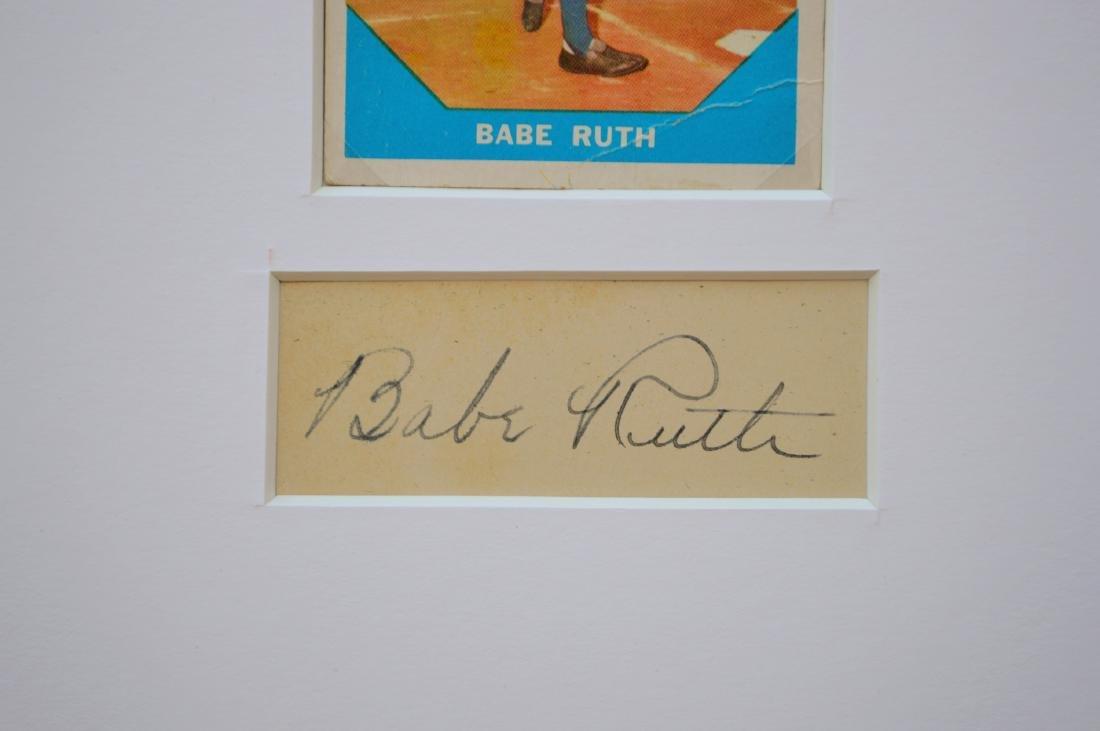BABE RUTH 1960 BASEBALL CARD AND CUTOUT SIGNATURE IN - 2