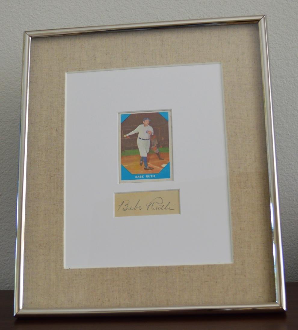 BABE RUTH 1960 BASEBALL CARD AND CUTOUT SIGNATURE IN - 4
