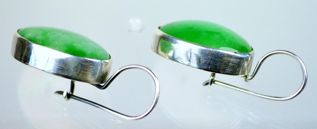CHINESE GR A CARVED APPLE GREEN JADE SILVER EARRINGS