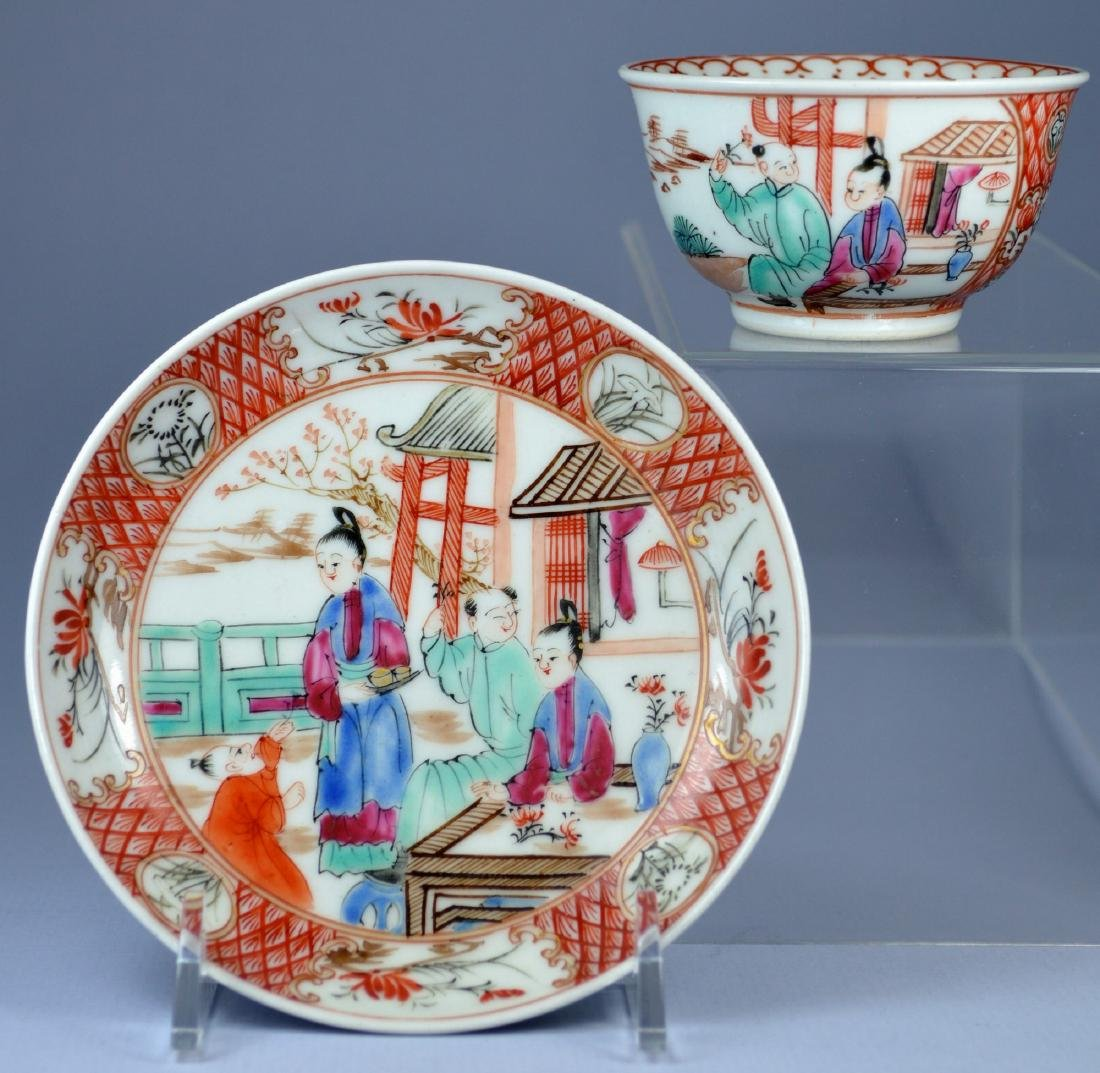 A VERY FINE CHINESE MANDARIN SAUCER AND CUP 18TH C