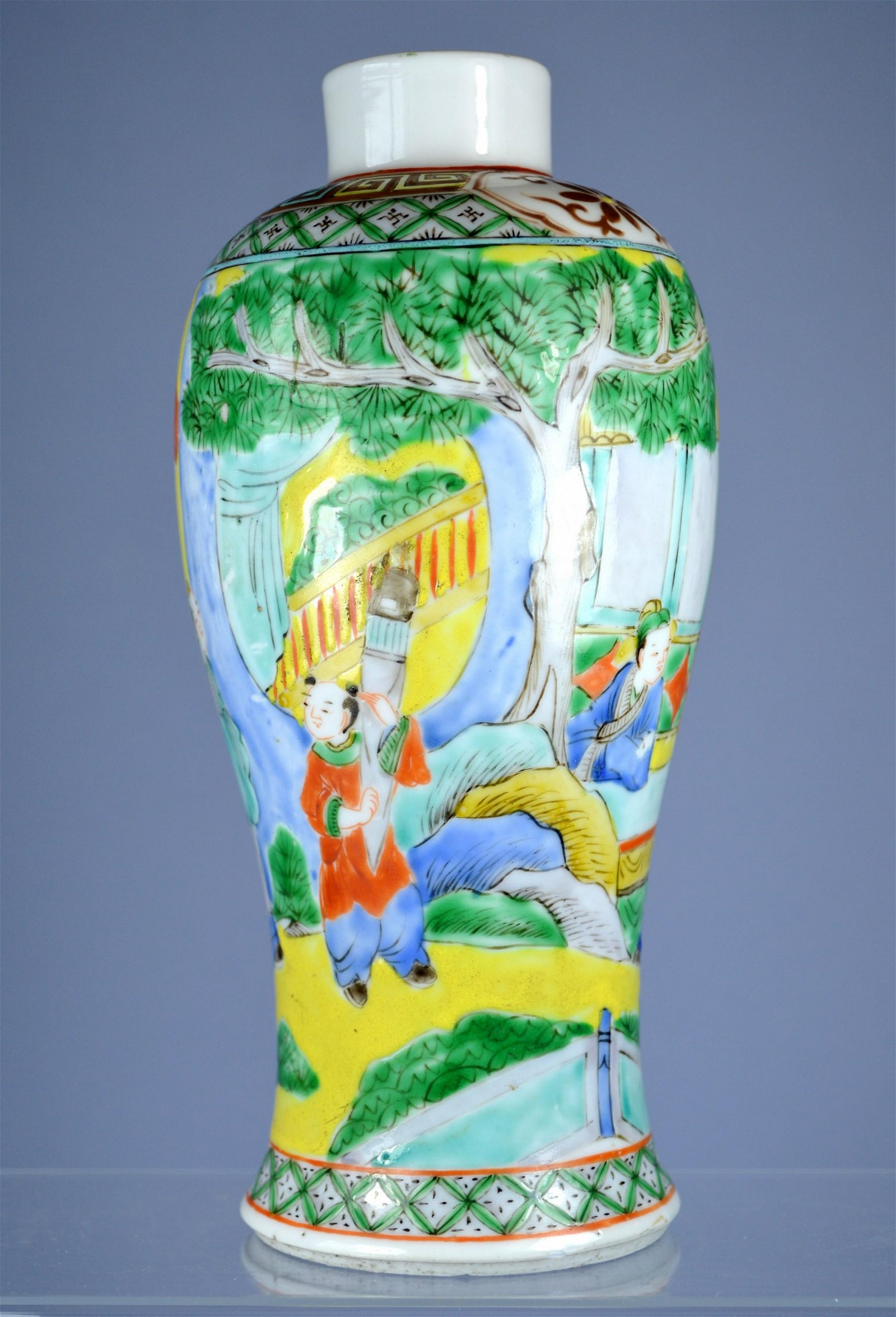 CHINESE PORC MEIPING VASE CA 19TH C