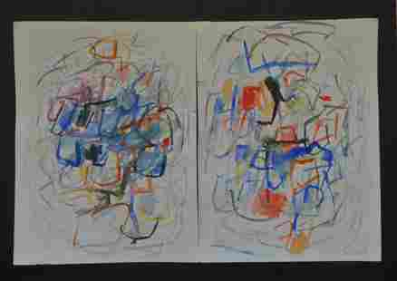 JOAN MITCHELL ATTR WATERCOLOR ON PAPER IN TWO PARTS