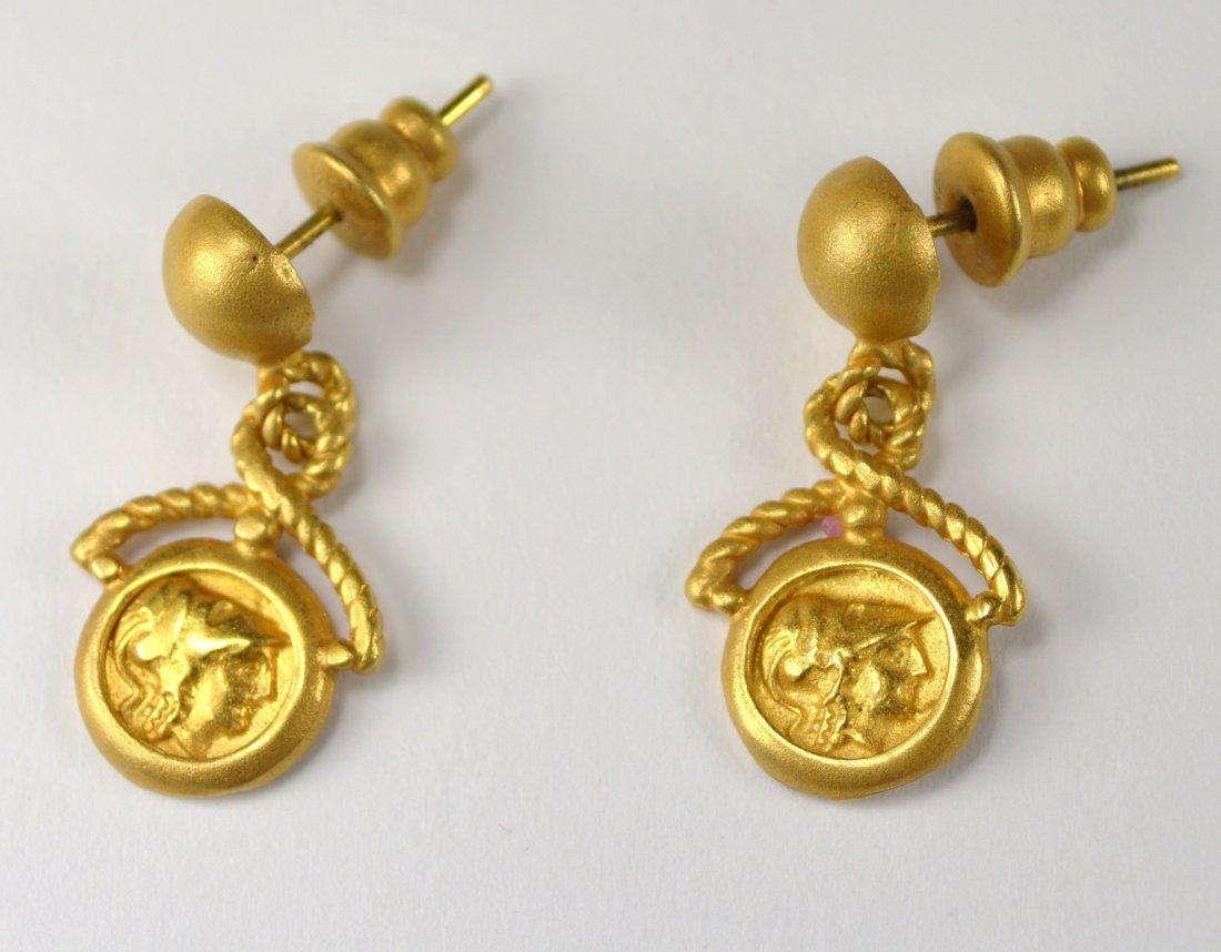 EARRINGS,  21 KT GOLD