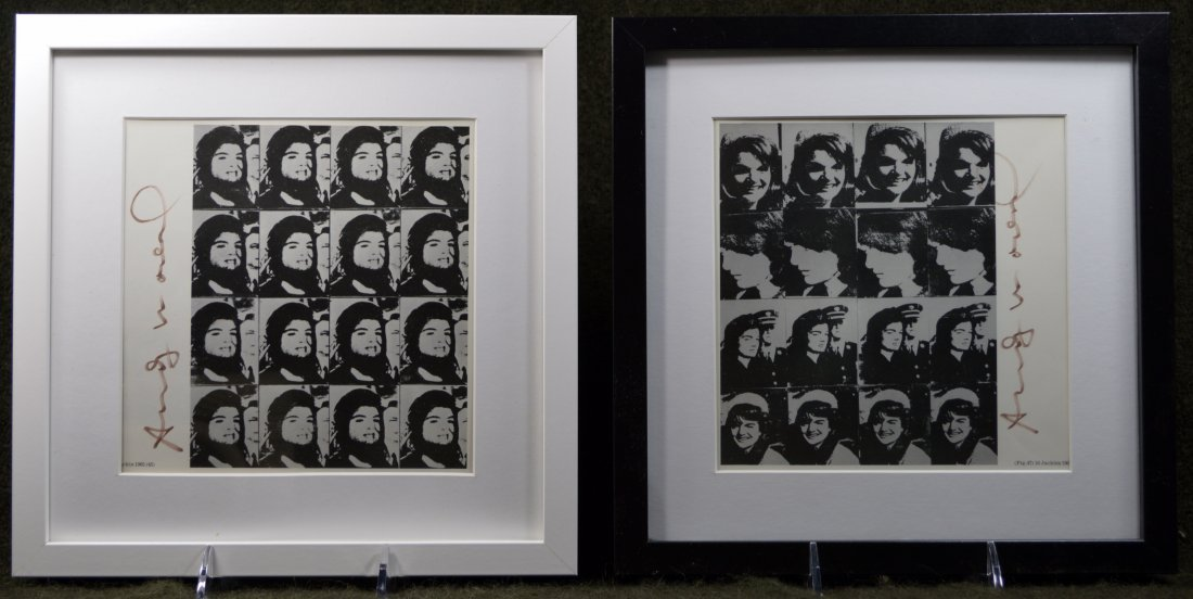 AFTER ANDY WARHOL SIGNED PAIR OF VINTAGE LITHOGRAPHS,