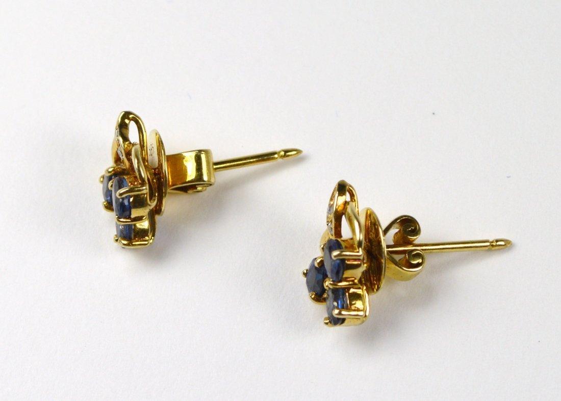 EARRINGS, 14 KT GOLD W/STONES