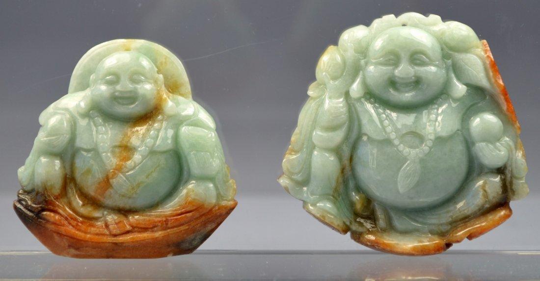 CHINESE HETIAN JADE CARVED BUDDHA AMULET PAIR