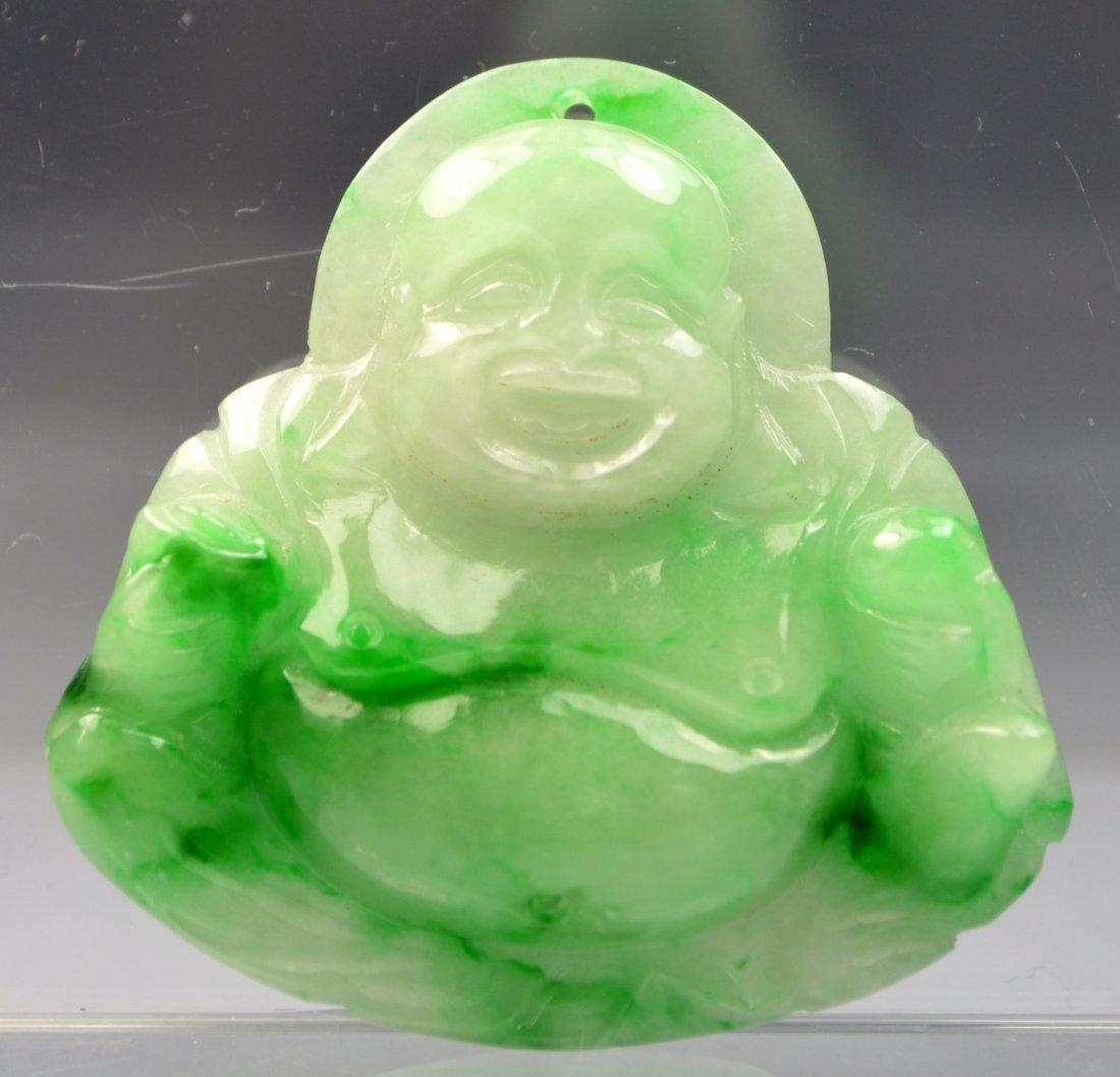CHINESE HETIAN JADE CARVED BUDDHA AMULET