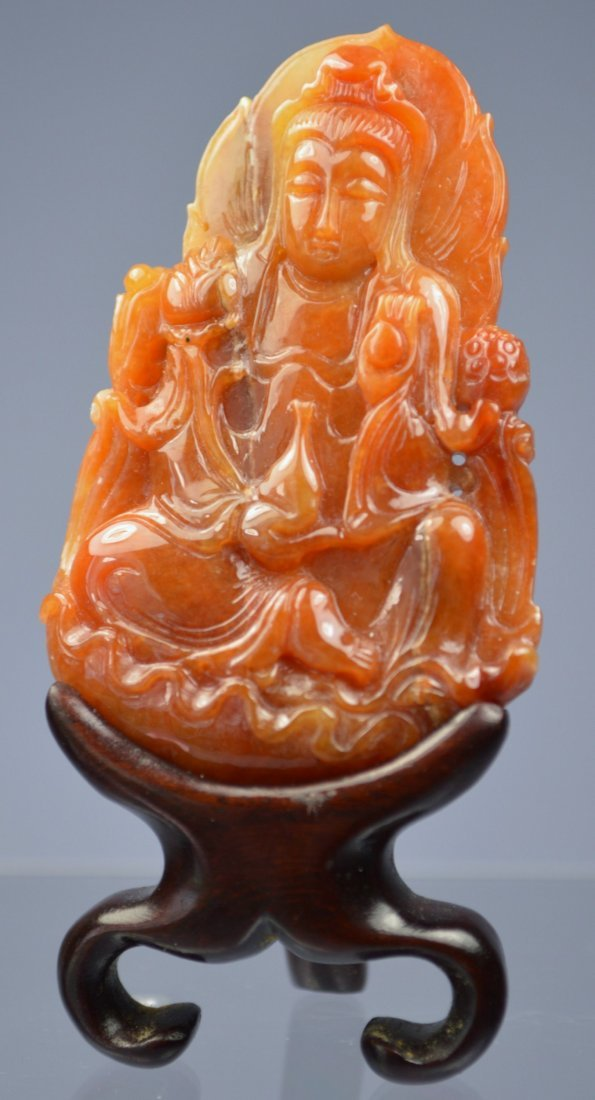 CHINESE SUPERB HE-TIAN JADE CARVED KWAN-YIN AMULET
