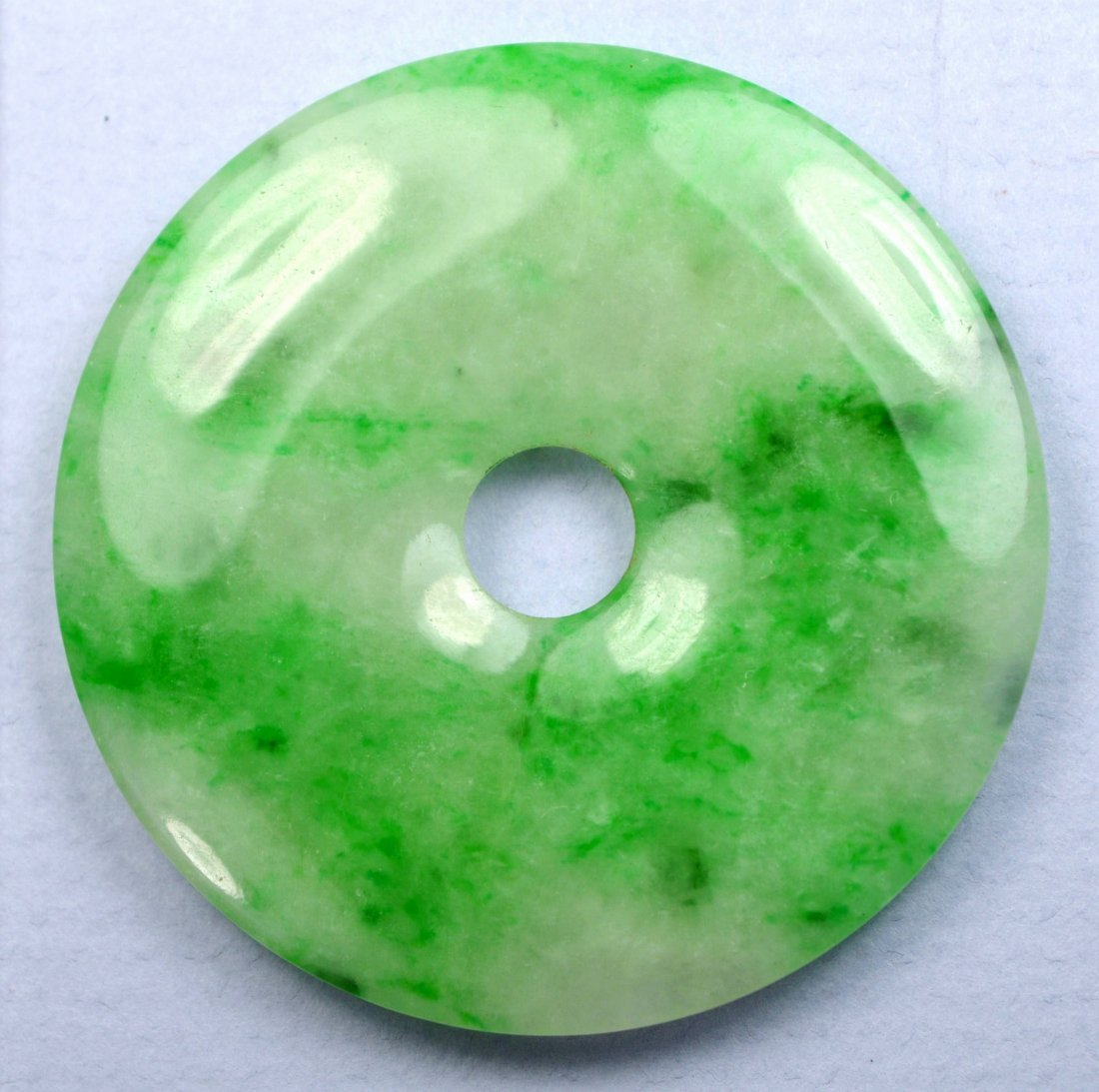 SUPERB LARGE CHINESE MOTTLED APPLE GREEN BI PENDANTS