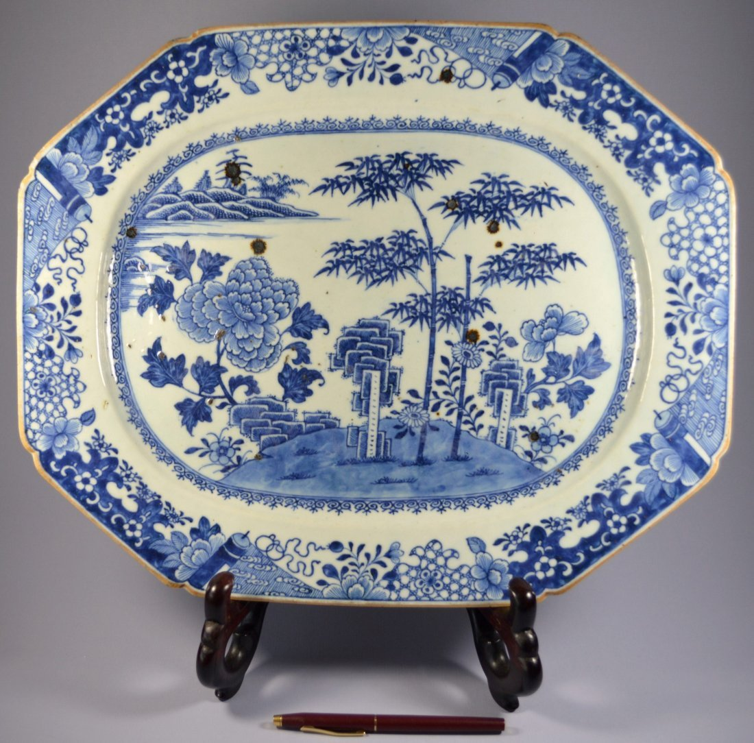 CHINESE HUGE 18TH C. QIANLONG EIGHT SIDED PLATE
