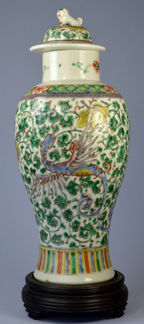 CHINESE FAMILLE VERTE BALUSTER VASE WITH LID CA. 19TH C