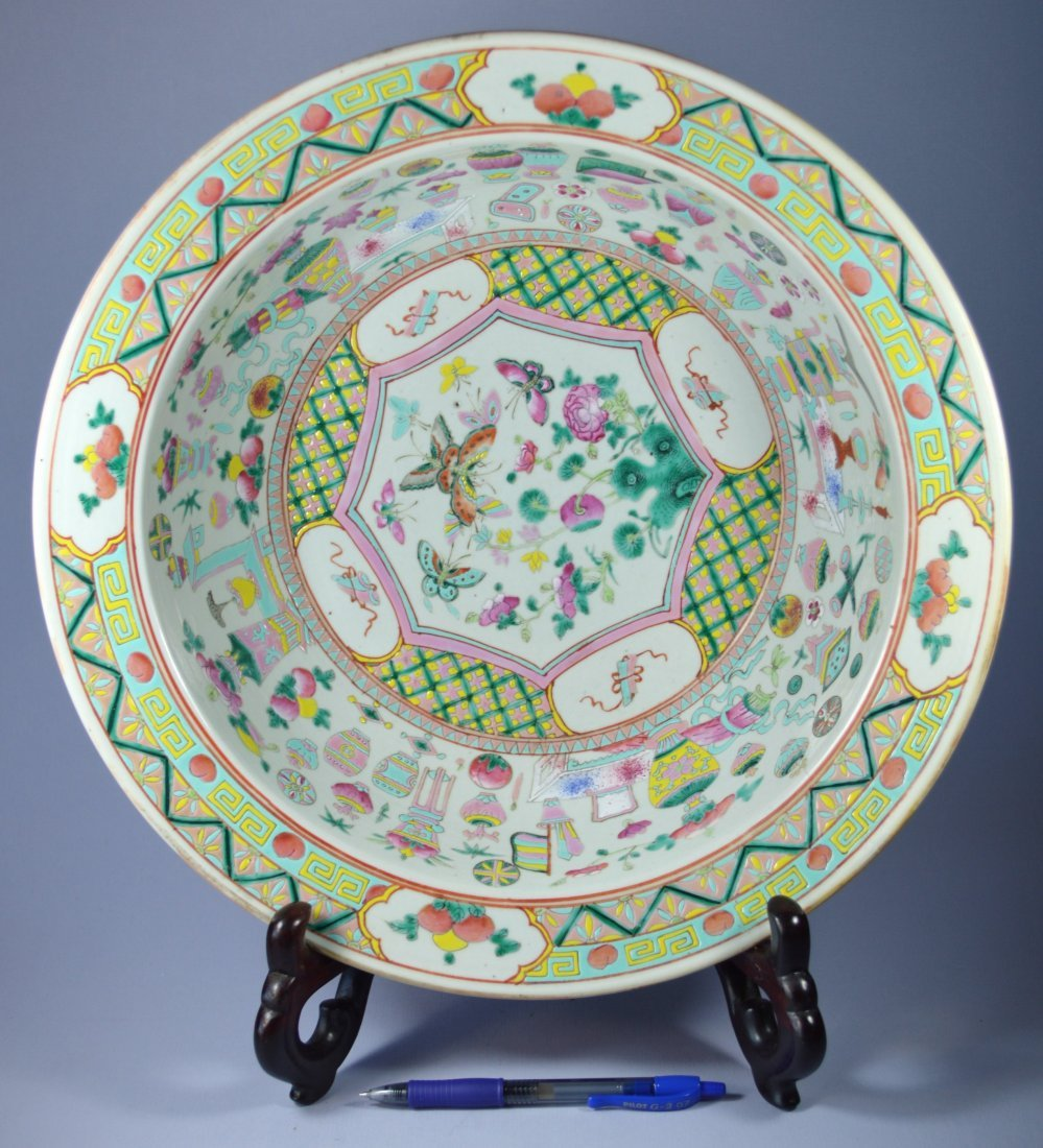 CHINESE HUGE PORC FISH BOWL PRECIOUS OBJECTS 19TH C