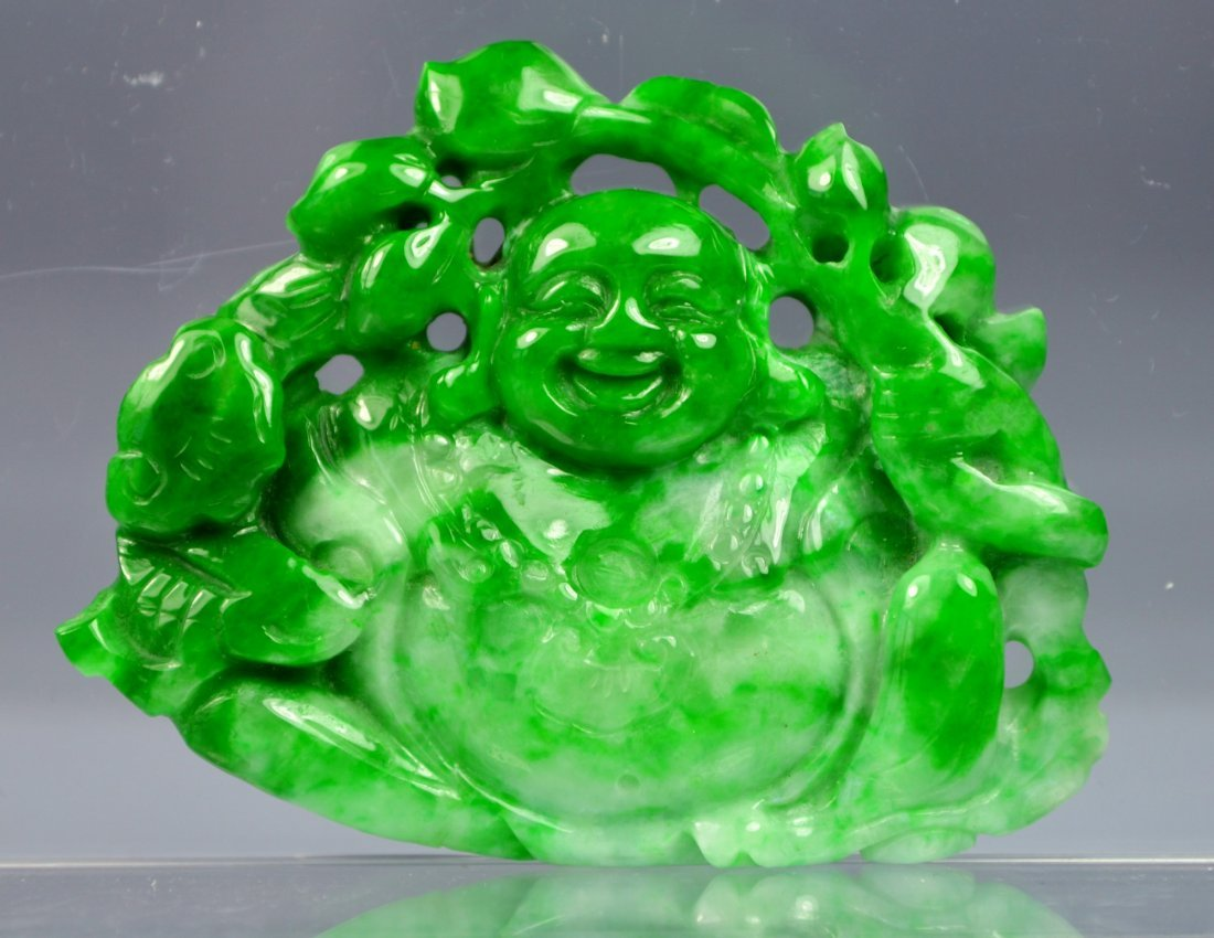 CHINESE CERTIFIED GRADE A GREEN JADE CARVED BUDDHA