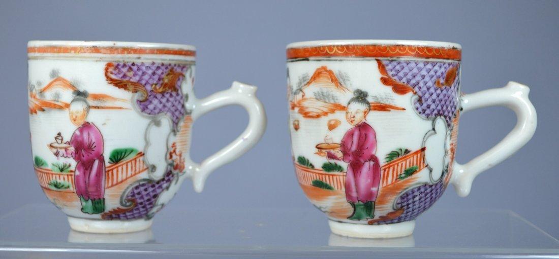CHINESE MANDARIN PORC FIGURAL CUPS (PAIR) CA 18TH C