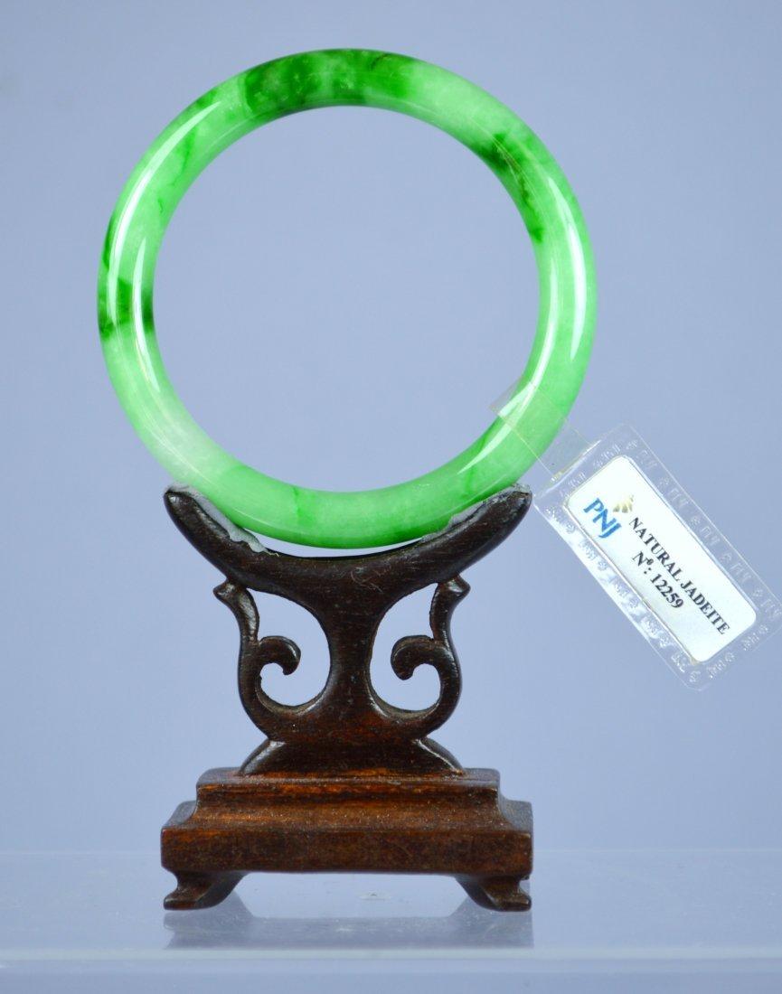 CHINESE CERTIFIED APPLE GREEN JADE BANGLE