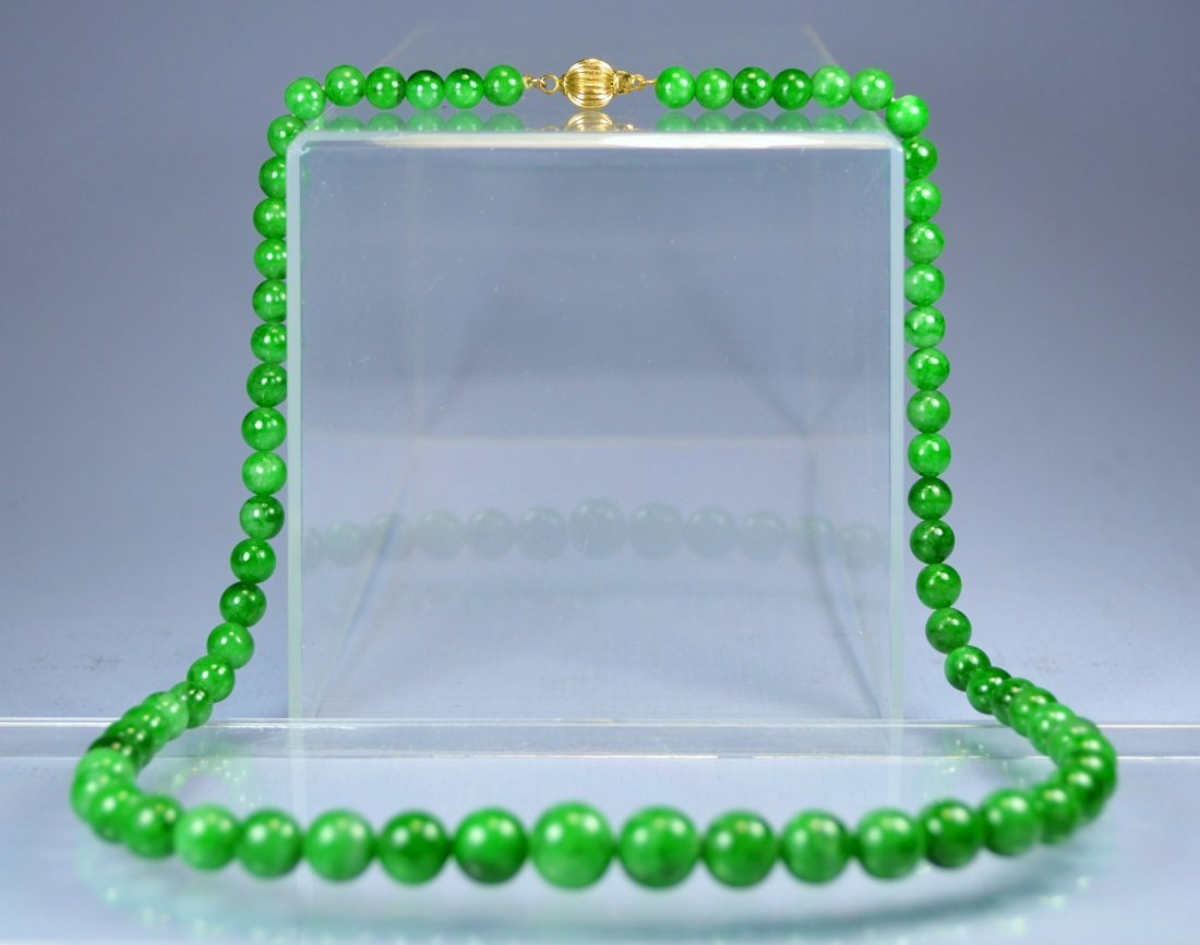 CHINESE TOP SPECIAL GREEN JADE BEAD NECKLACE