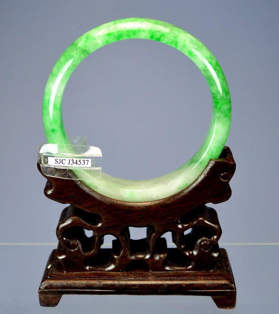 CHINESE TOP CERTIFIED GREEN JADE BANGLE BRACELET