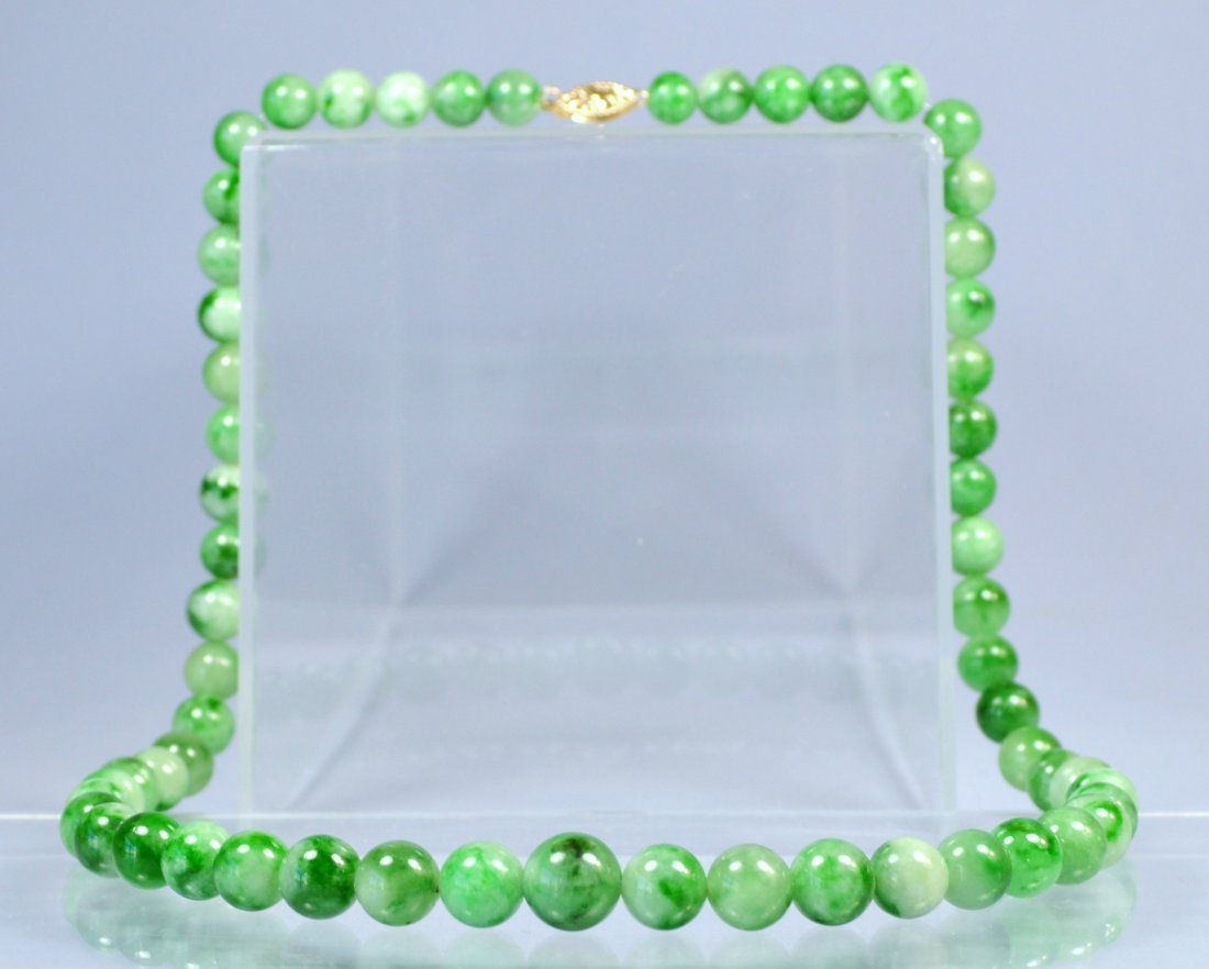 CHINESE TOP NATURAL JADE BEAD NECKLACE 14K CLASP