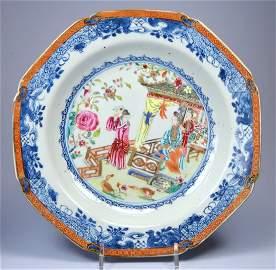 CHINESE FIGURAL MANDARIN PORC PLATE CA 18TH C