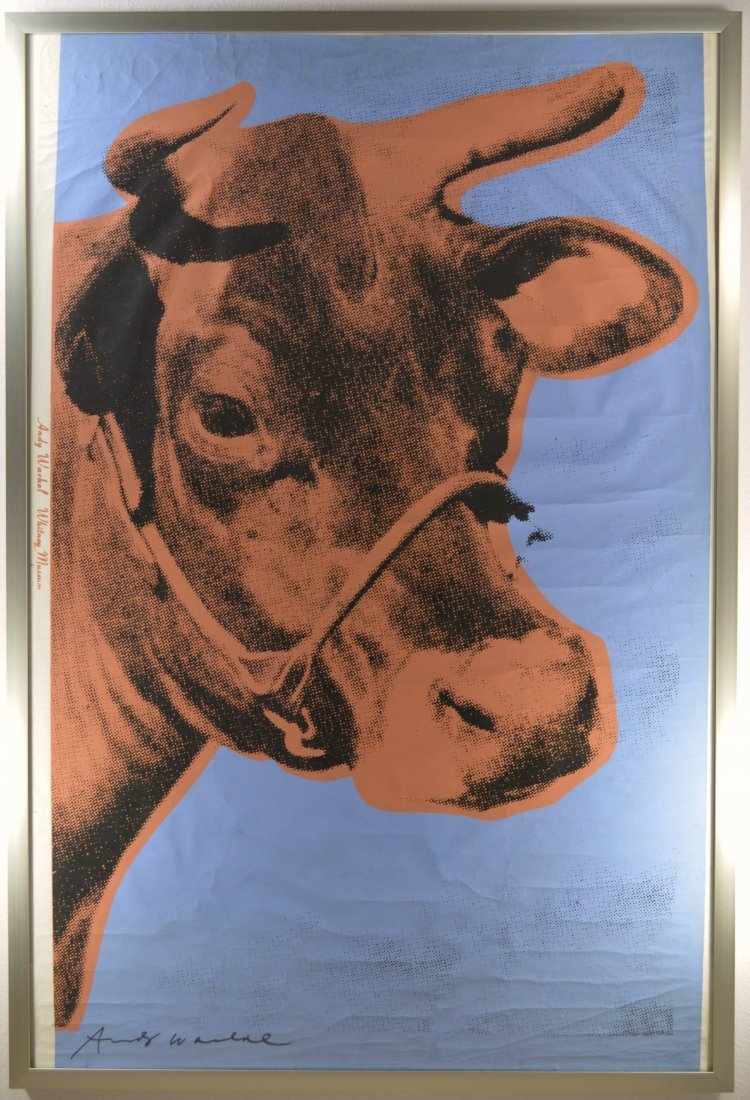 ANDY WARHOL SCREENPRNT ON WALPAPER COW 1971