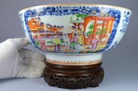 Chinese Very Large Mandarin Figural Punch Bowl Ca