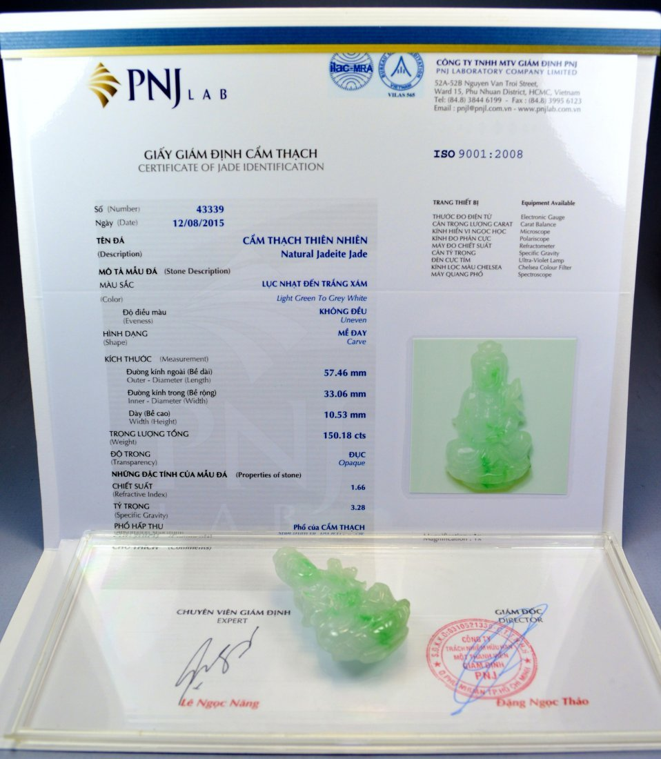 CHINESE CERTIFIED TOP JADE PENDANT - 3