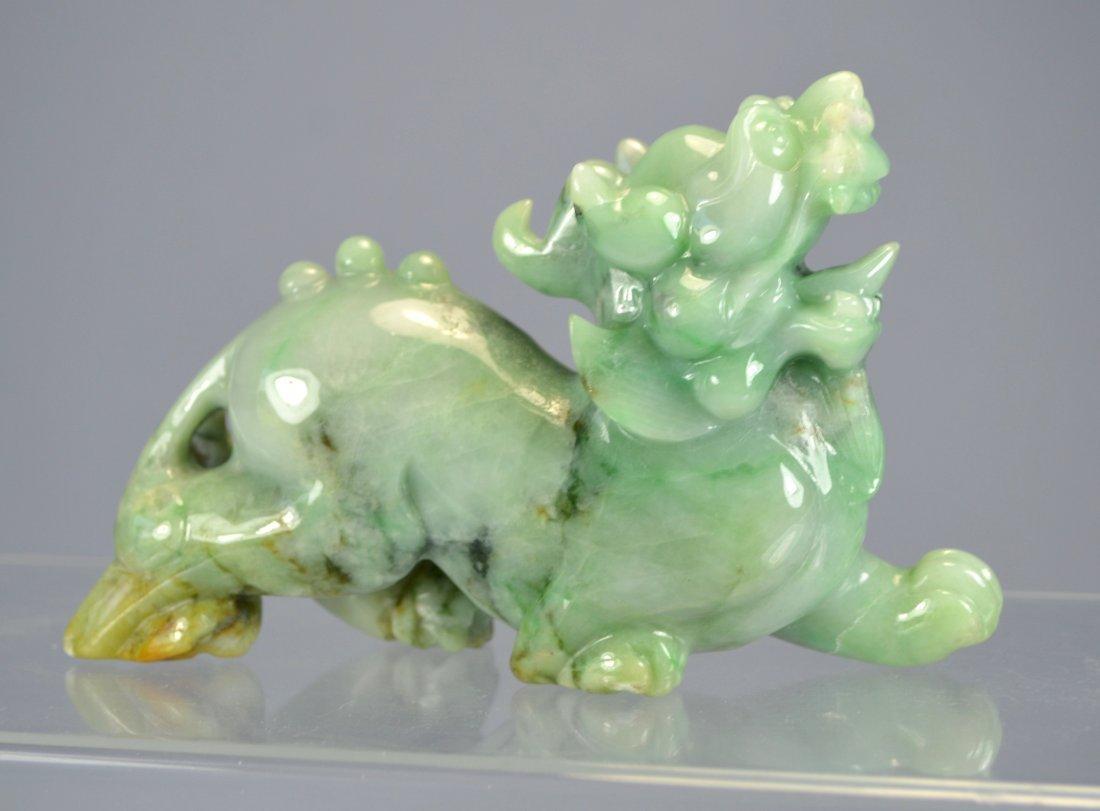 CHINESE CARVED JADEITE BEAST FIGURE - 4