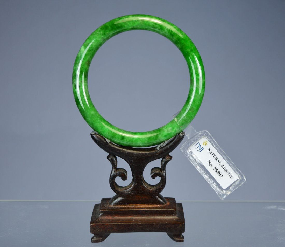 CHINESE TOP CERTIFIED GREEN JADE BANGLE BRACELET