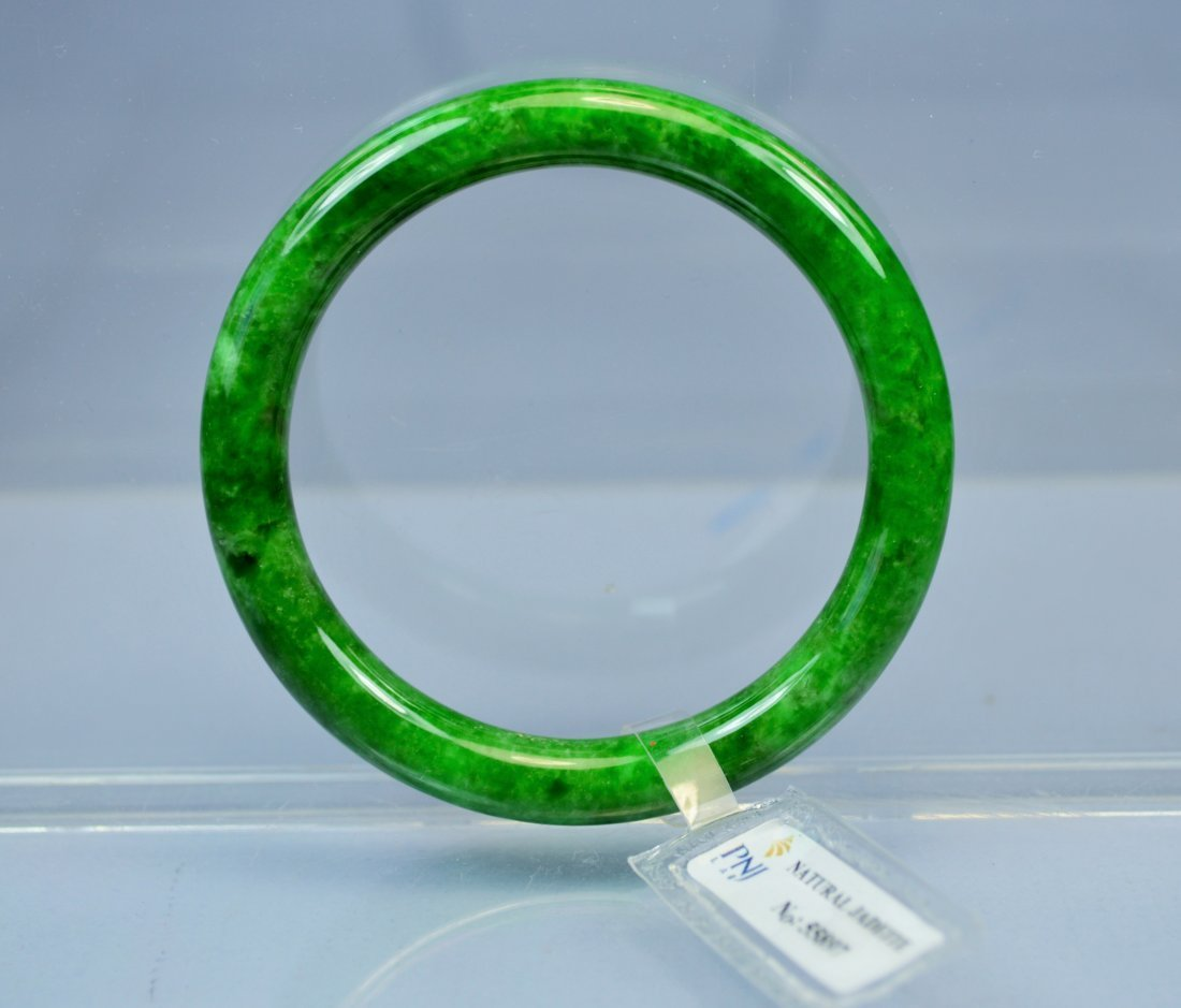CHINESE TOP CERTIFIED GREEN JADE BANGLE BRACELET - 3
