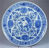 CHINESE PORC KANGXI FIGURAL PLATE CA 18TH