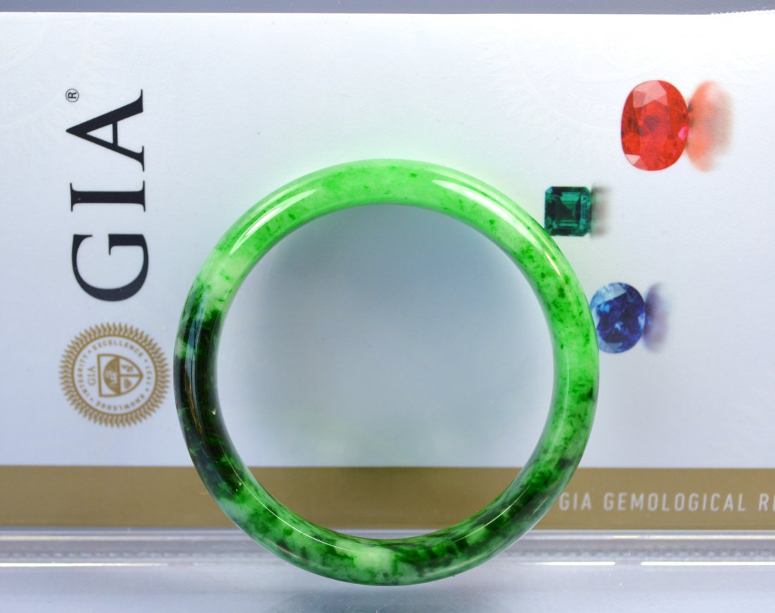 CHINESE TOP CERTIFIED GRADE A GREEN JADE BANGLE