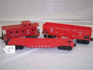 Lionel 6476 hopper 6257 caboose flat car