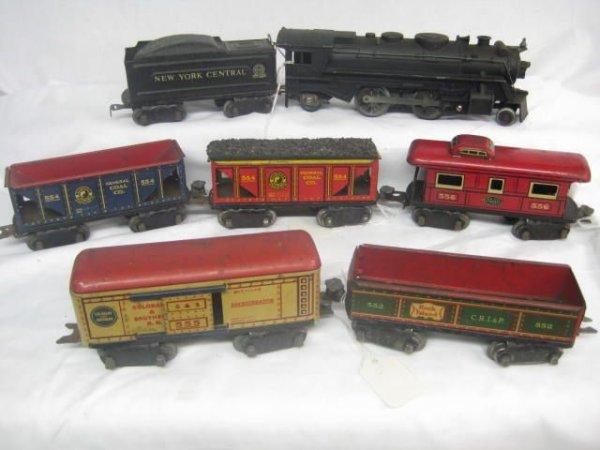 """4023: 8 wheel 6"""" tin Freight set, 7pcs"""
