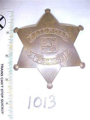 Brass Santa Fe RR Police Badge