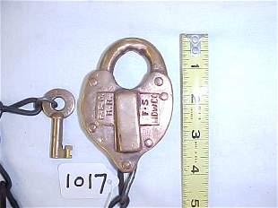 B & O RR Brass Lock and Key