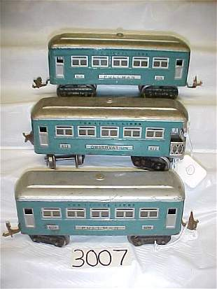 3 Lionel Passenger Pullman Cars
