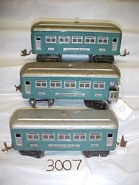 3007: 3 Lionel Passenger Pullman Cars