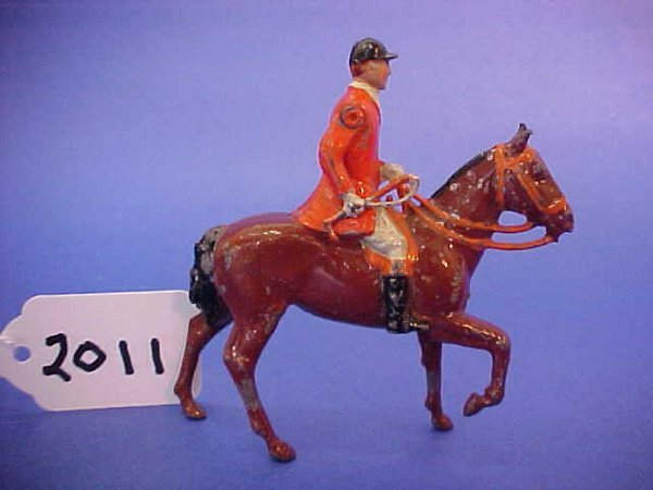 2011: Britains, the meet, mounted male fox hunter,