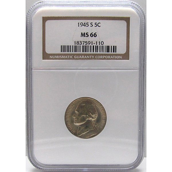 1945-S Jefferson War Nickel MS66 NGC